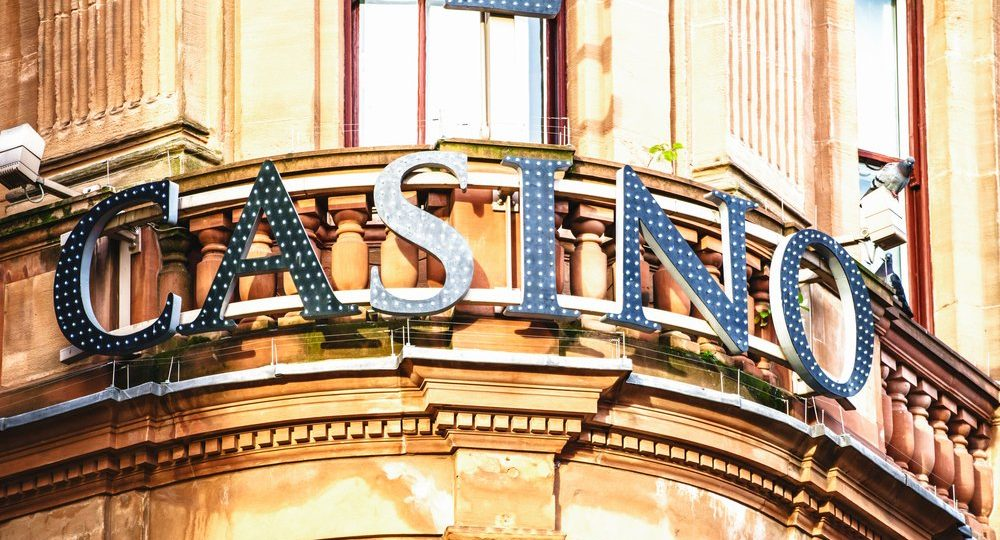 London building sporting casino sign on facade